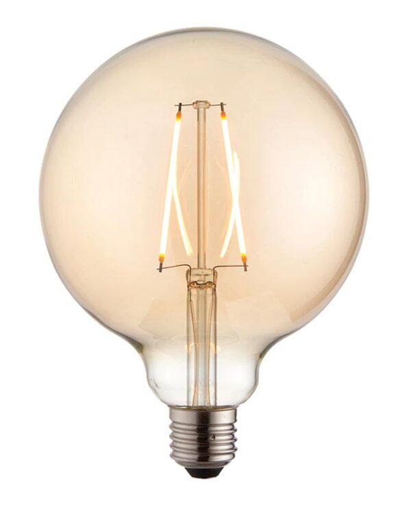 Amber Glass 125mm Globe 2w LED Filament E27 Light Bulb 190 Lm