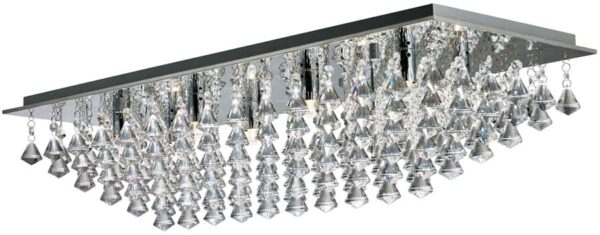 Hanna Large Chrome Rectangular 8 Light Flush Diamond Crystal Light