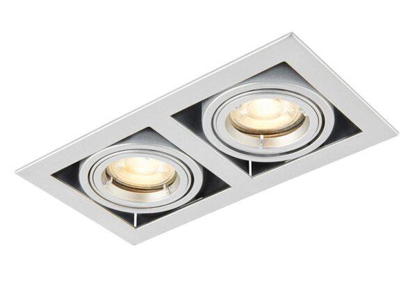 Garrix Adjustable Twin GU10 Boxed Tilt Down Light Metallic Silver