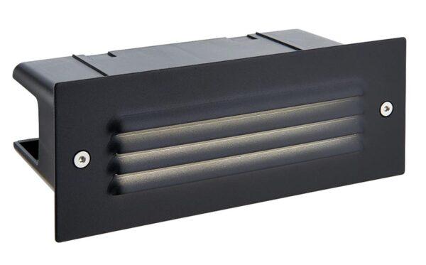 Seina Black Stainless Steel Louvred LED Brick Light IP44