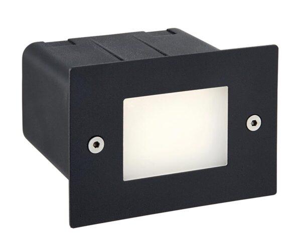 Seina Plain Faced Black Stainless Steel 2w LED Half Brick Light IP44