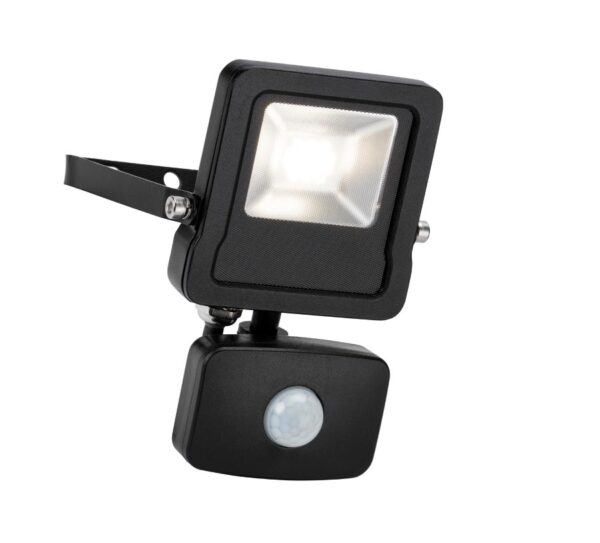 Surge 10W LED Outdoor PIR Floodlight Manual Override Black IP65