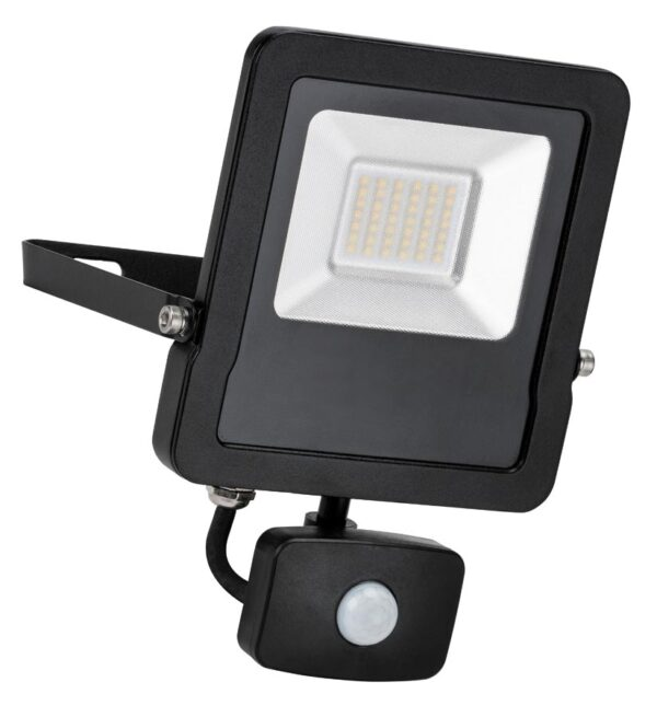 Surge 30W LED Outdoor PIR Floodlight Manual Override Black IP65
