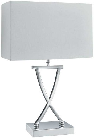 Modern Criss Cross Chrome Table Lamp With White Box Shade