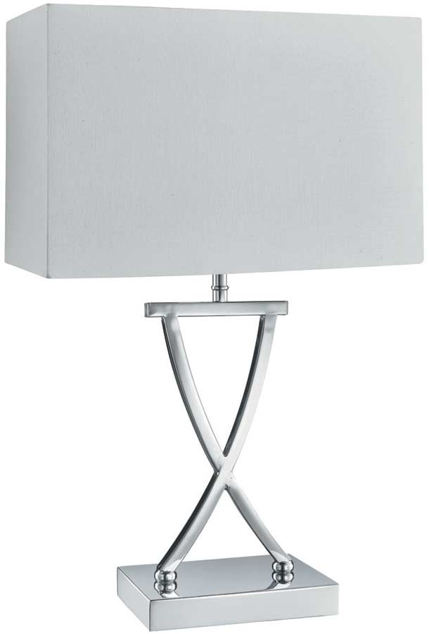 Modern criss cross chrome table lamp with white box shade 7923cc modern criss cross chrome table lamp with white box shade aloadofball Gallery