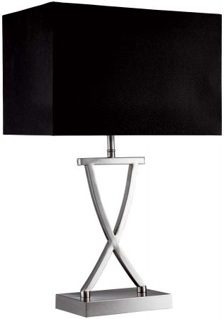 Modern Criss Cross Chrome Table Lamp With Black Box Shade