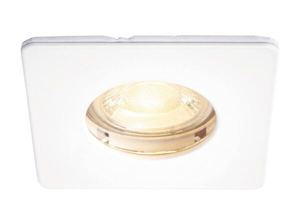 Speculo Square Bathroom Down Light Fire Rated White IP65