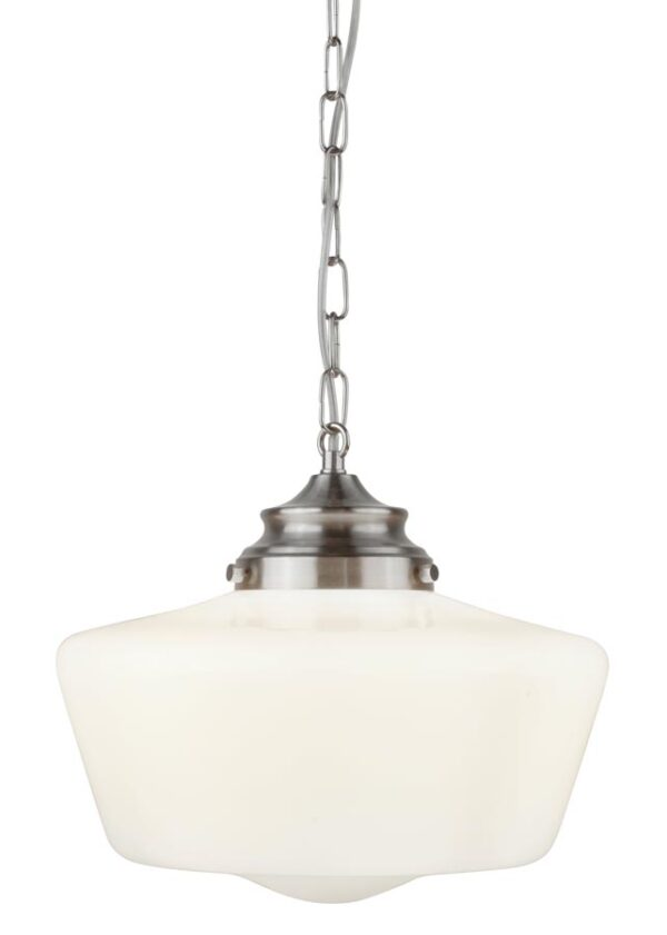 School House 1 light pendant ceiling light satin silver