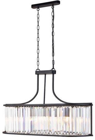 Victoria Crystal 5 Light Oval Ceiling Pendant Matt Black