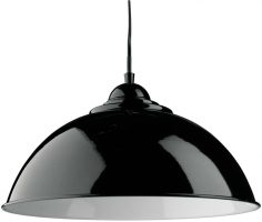 Sanford Retro Domed Gloss Black Metal Kitchen Pendant Light