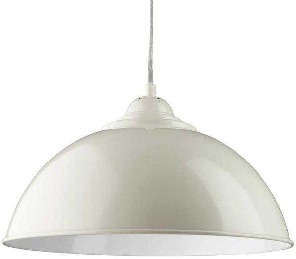 Sanford Retro Domed Gloss Cream Metal Kitchen Pendant Light