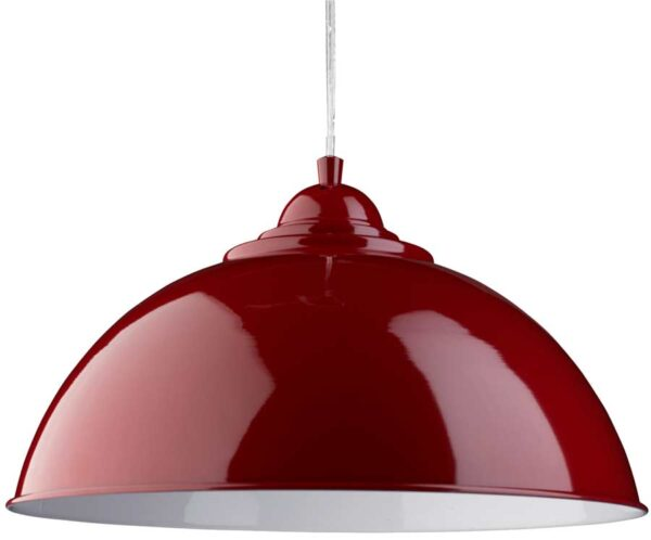 Sanford Retro Domed Gloss Red Metal Kitchen Pendant Light