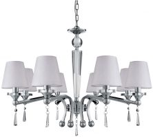 Brazil Chrome 8 Light Chandelier With Fabric Shades