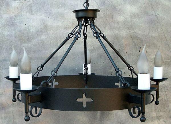 Wrought Iron Cartwheel 5 Light Black UK Made