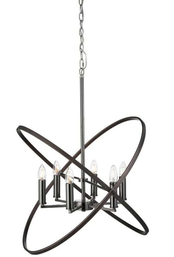 Hoopla 6 light pendant chandelier pewter & brown full height