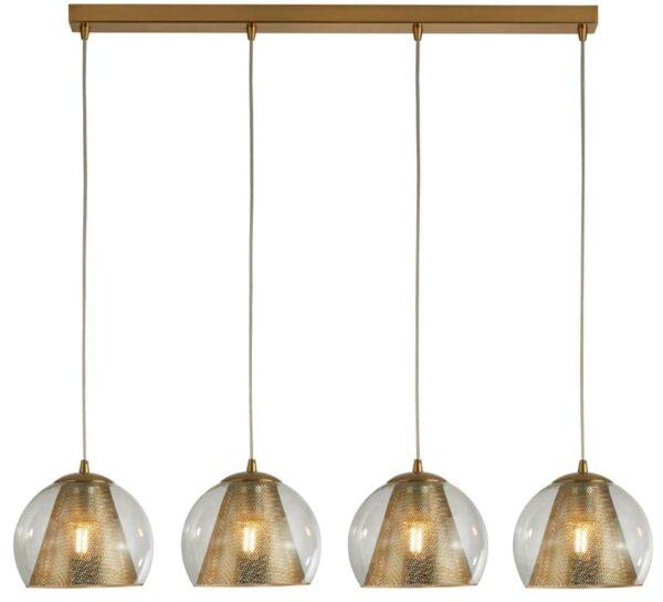 Conio 4 Light Glass Globe Linear Ceiling Pendant Satin Brass