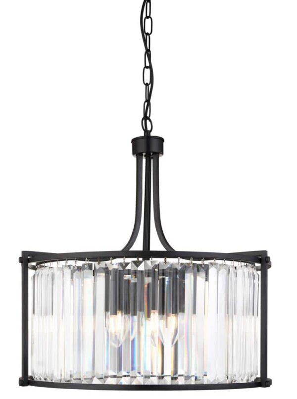 Victoria Crystal 5 Light Drum Ceiling Pendant Matt Black