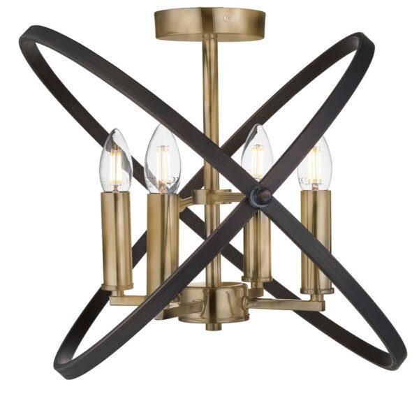 Hoopla 4 light semi flush ceiling light bronze & brown