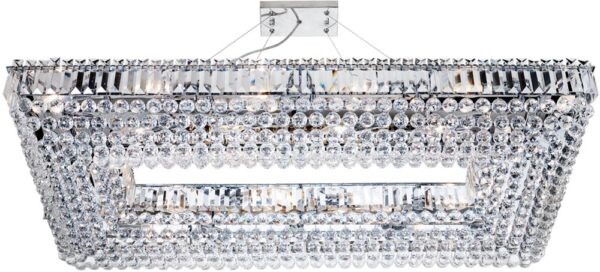 Vesuvius Chrome Rectangle Luxury 26 Light Large Crystal Chandelier