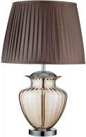 Traditional Amber Glass Urn Table Lamp With Pleated Shade