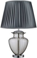 Traditional Smoked Glass Urn Table Lamp With Pleated Shade