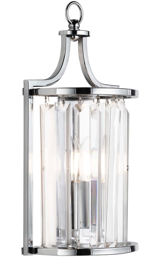 Victoria crystal 1 light half round wall light polished chrome