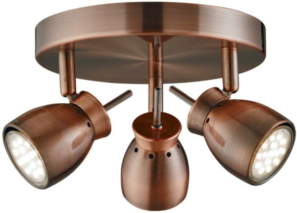 Jupiter Antique Copper Finish 3 Light LED Ceiling Spotlight Plate