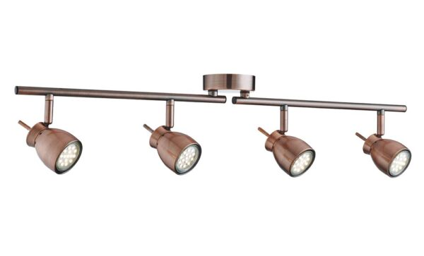 8814CU Jupiter copper finish 4 light LED ceiling spotlight bar