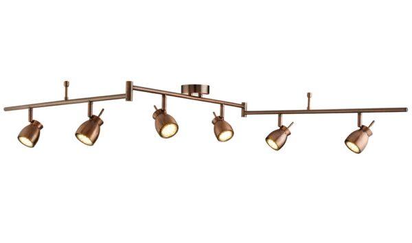Jupiter Antique Copper Finish 6 Light LED Ceiling Spotlight Bar
