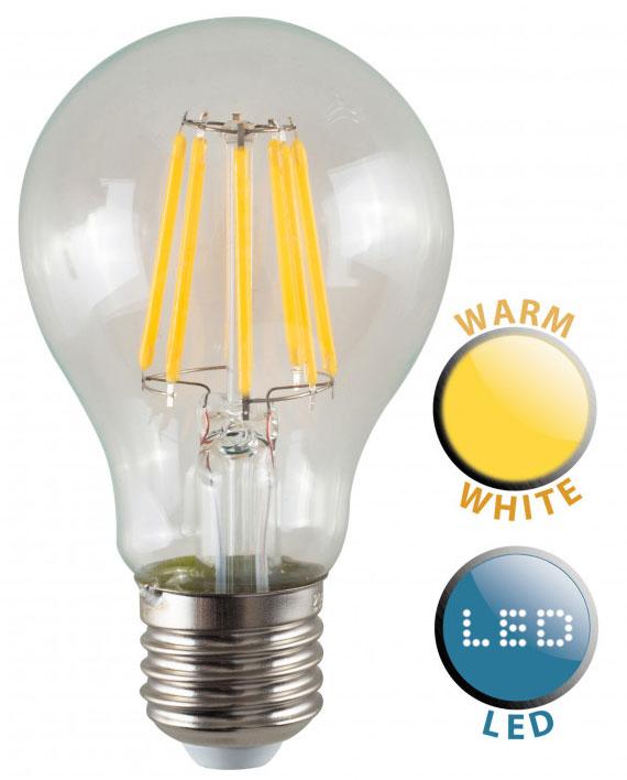 ES/E27 Filament 8w LED GLS Light Bulb Warm White 880 Lumen