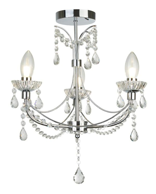 Autumn 3 light bathroom chandelier in polished chrome