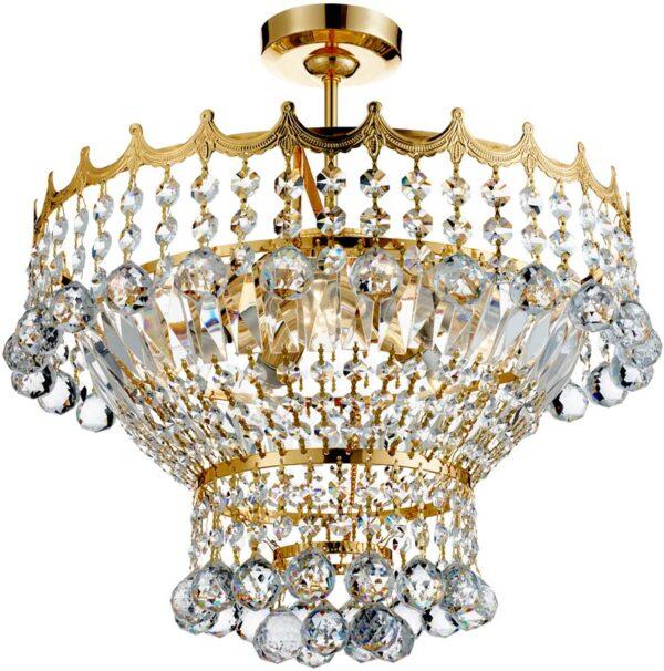 Versailles Gold Finish Semi Flush 5 Light Crystal Fitting