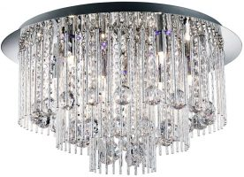 Beatrix Chrome 8 Light Remote Control Crystal Flush Fitting