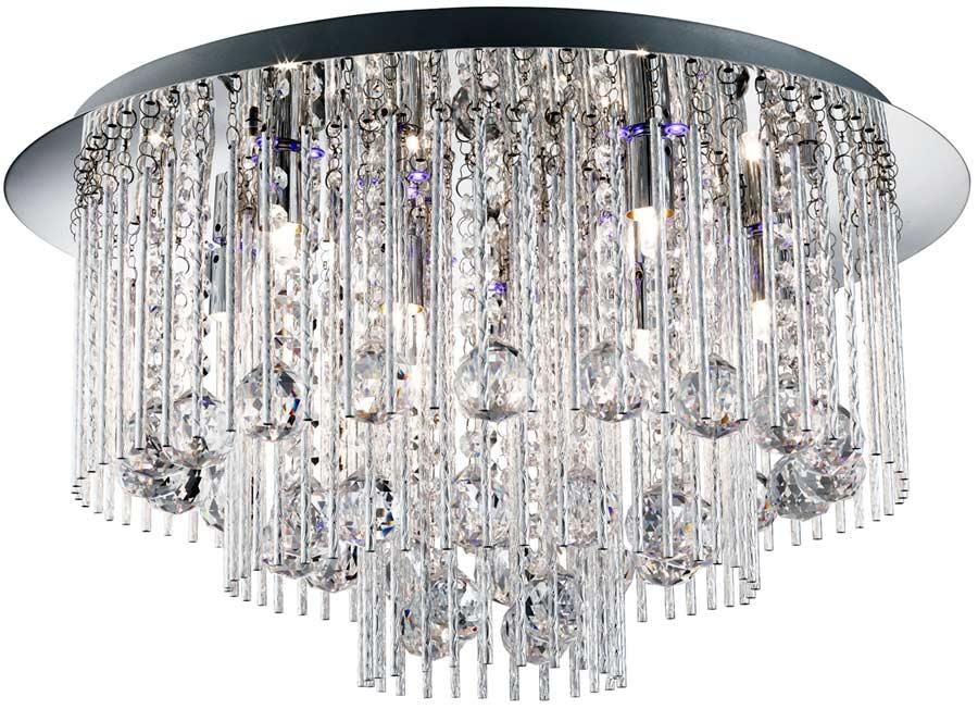 Beatrix 8 light flush ceiling light polished chrome crystal drops remote aloadofball Image collections