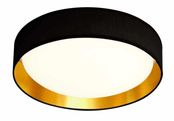 Gianna 18w LED 37cm flush ceiling light, gold / black shade