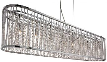 Elise 8 Light Island Chandelier Chrome Crystal Diamond Cut Tubes
