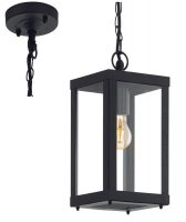 Alamonte 1 Black Square Hanging Outdoor Porch Lantern IP44