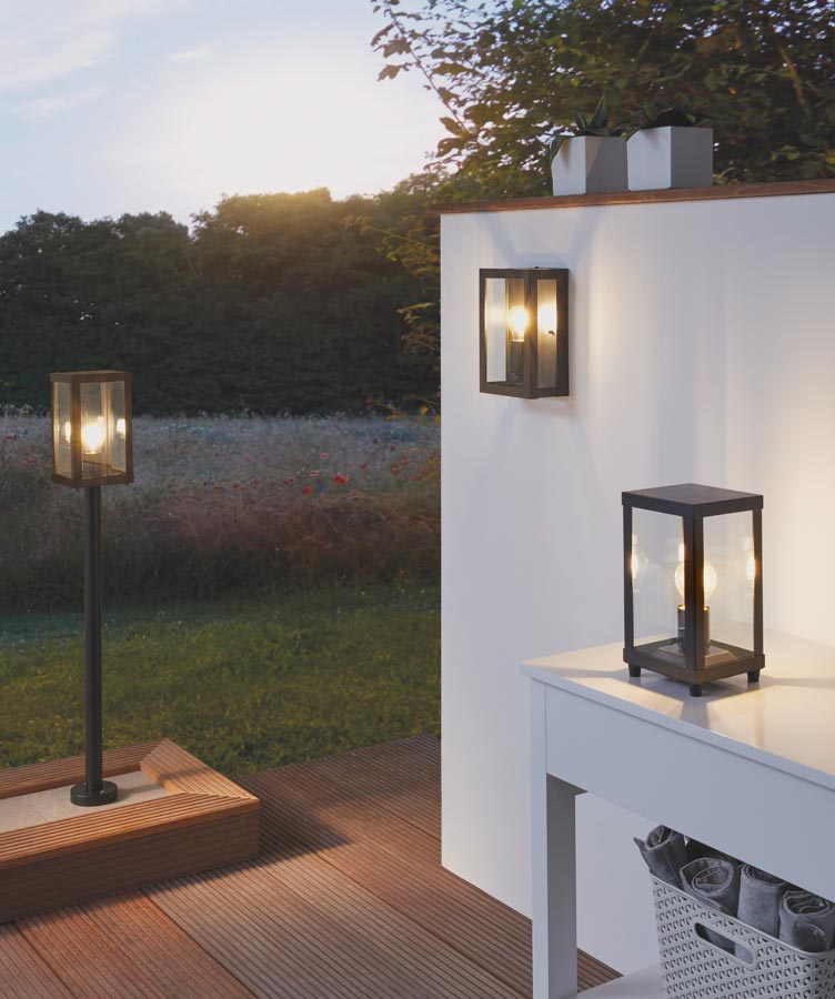Porch Light Box: Alamonte 1 Black 1 Light Outdoor Box Lantern IP44