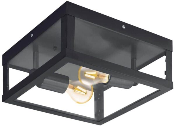 Eglo 94832 Alamonte 1 black 2 light outdoor box lantern ceiling mounted
