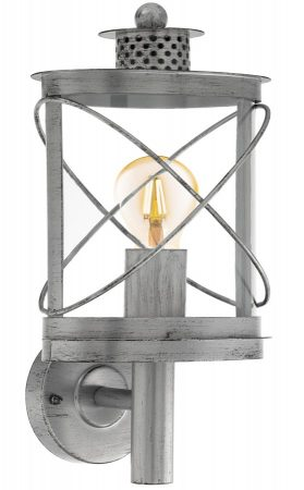 Hilburn 1 Antique Silver Oval Outdoor Carriage Lantern IP44