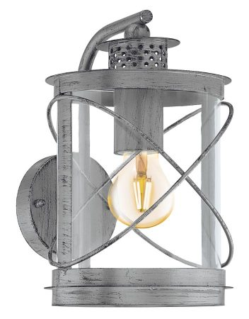 Hilburn 1 Antique Silver Oval Outdoor Carriage Lamp IP44