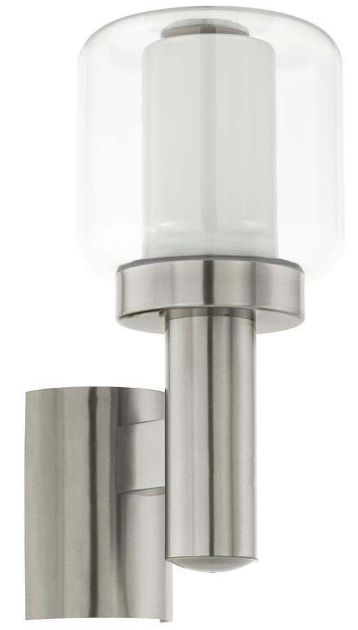 Poliento Stainless Steel Wall Light Double Glass Shade IP44