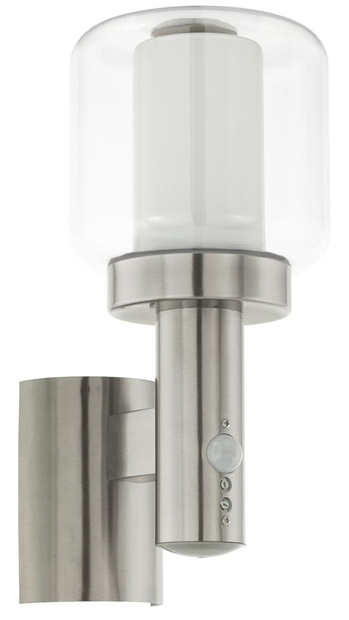 Poliento Stainless Steel PIR Wall Light Double Glass Shade IP44 Eglo 95017
