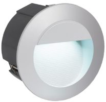 Zimba LED Silver Round Recessed Brick Light IP65
