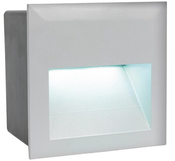Zimba LED Silver Square Recessed Brick Light IP65