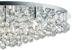 Hanna Polished Chrome Very Large 8 Light Flush Crystal Ceiling Light