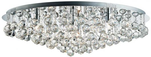 Hanna Polished Chrome Very Large 8 Light Flush Crystal Ceiling Light