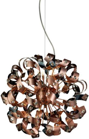 Curls Large Modern 12 Light Copper Ribbon Ceiling Pendant