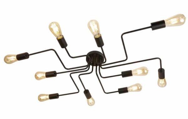 Circuit 10 Light Flush Mount Ceiling Light Industrial Style Matt Black