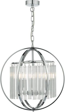 Abdul Chrome Sphere 3 Light Pendant With Crystal Rods
